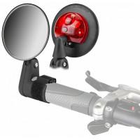 Зеркало заднего вида DX-2002VF на липучке с габаритным огнём, пластиковое черное
